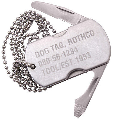 Stainless Army Military Style Dog Tag Silver Survival Pocket Multi Tool w/ Chain