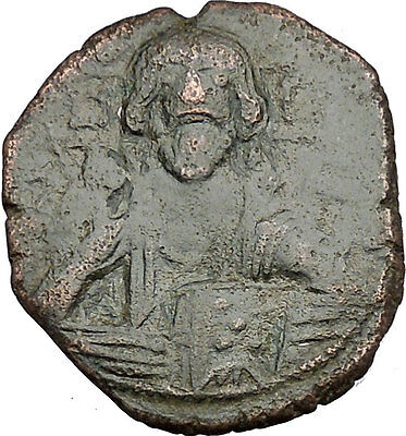 JESUS CHRIST Class A2 Anonymous Ancient 1028AD Byzantine Follis Coin i49932