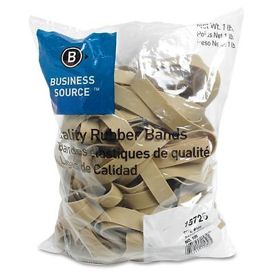 Business Source 15726 Rubber Bands, Size 105, 1 lb Bag, 5 x 5/8, Natural Crepe