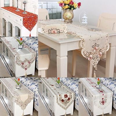 Vintage Floral Embroidery Tassel Table Runner Cover Cloth Wedding Home Decor