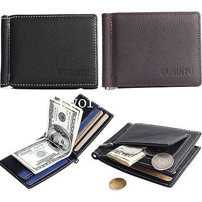Men's Genuine Real Leather Bifold Money Clip Wallet ID Credit Card Holder Purse