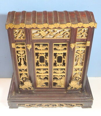 Antique Chinese wooden shrine cabinet intricate carvings circa eary 1900s u