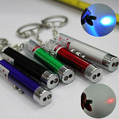 2 In 1 Red Laser Pointer Pen + White LED Light Childrens Pet Cat Toy Keychain