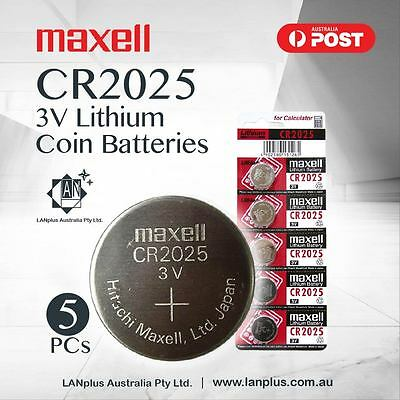 Maxell 5x CR2025 3V Lithium Battery STOCK IN Melbourne Button Coin Expiry-2023