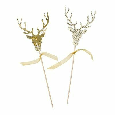 Luxury Porcelain Gold Stag Reindeer 3D Canape Picks Christmas Party Set Pack
