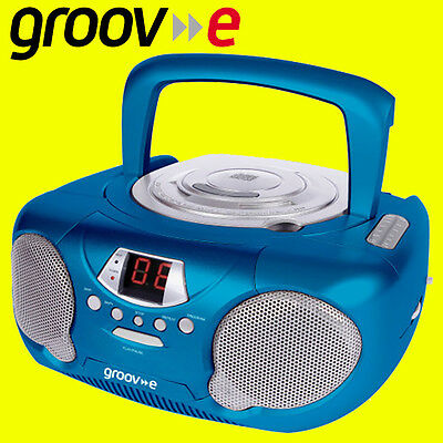 Groov-e GVPS713 BLUE Portable Boombox Kids CD Player Radio Aux-In FREE AUX LEAD