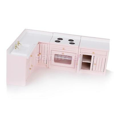 4pc Doll House Miniature Furniture Set Kitchen Cabinet Sink Stove Oven Door Open