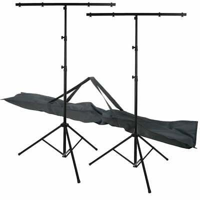 2 x UKDJ 3 Section T Bar Lighting Stand High Quality Light Weight DJ T-Bar + Bag