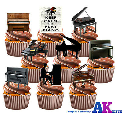 Piano Party Pack 36 Edible Stand Up Cup Cake Toppers Music Musical Decorations