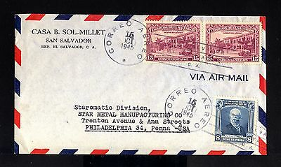 7787-EL SALVADOR-AIRMAIL COVER SAN SALVADOR to PENNA (usa) 1945.WWII.Aerien.