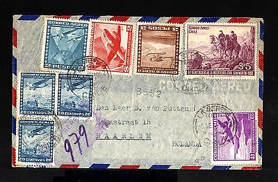 7748-CHILE-AIRMAIL COVER LA SERENA to HAARLEM (holland) 1952.CHILI.Aerien.