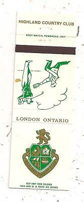 Highland Country Club London ON Ontario Matchcover 122915