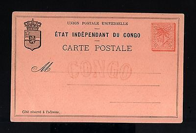 7803-CONGO-OLD UNUSED POSTCARD ETAT INDEPENDANT DU CONGO.15 Cts.UPU.Carte postal