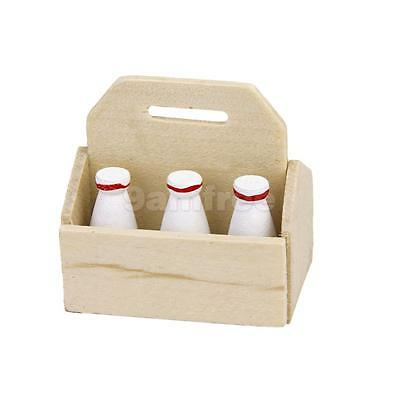 1:12 Dolls House Miniature Crate with 6 Milk Bottles Fairy Kitchen Accessory