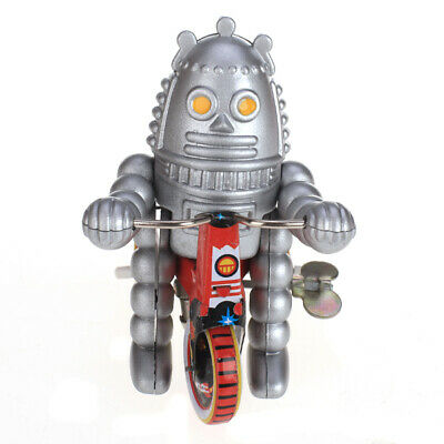 Wind Up tin toy planet Baby Robot on Tricycle scooter car model collectable gift