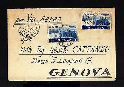 7709-ERITREA-ITALY-MILITARY airmail COVER P.M.130 to GENOVA.1937.WWII.Lybia.CAPT