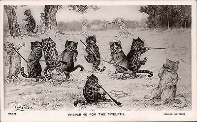 Louis Wain Cats. Preparing for the Twelfth # 942.O by J. Beagles. Hunting Comic.