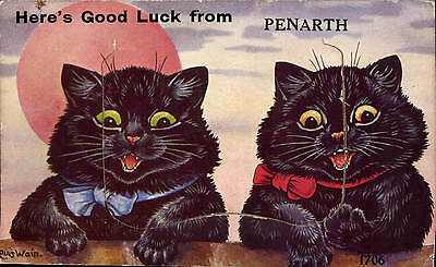 Louis Wain Cats. Here's Good Luck from Penarth Pull Out # 1706 by Valentine's.