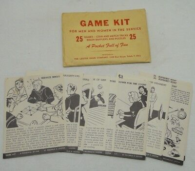 WWII Pocket Full of Fun Game Kit Leister Game Co For Men & Women in the Service