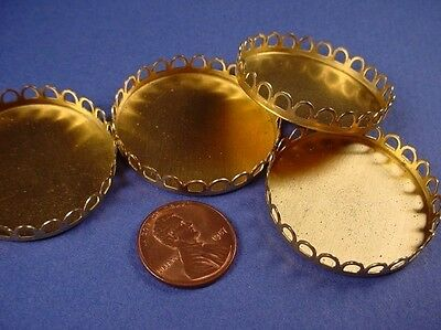 Brass Round Lace Edge Bezel Cups 35mm - 6 Pieces