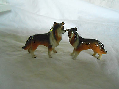 Two porcelain Collie dog figures Lovely hand painted pieces
