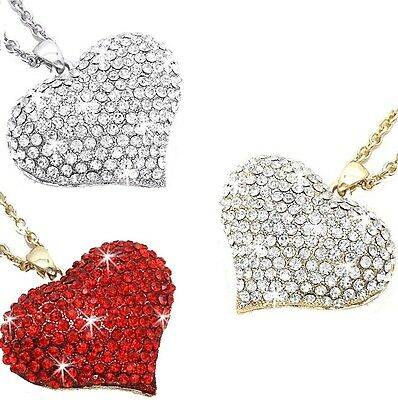 RUBY RED GOLD SILVER HUGE PUFFED HEART Micro Pave Set Crystal Cz LONG Necklace X