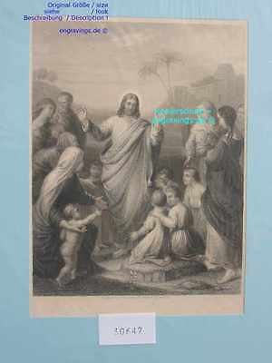 30647-Bibel-Bible-Jesus-Christ-CHRISTUS-Kinder-Child-Stahlstich-Steel engraving