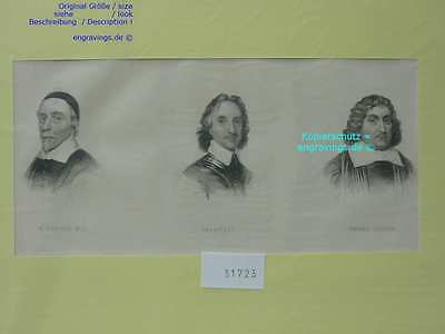 31723-Porträts-Portraits-HARVEY-CROMWELL-FULLER-Stahlstich-Steel engraving-1850