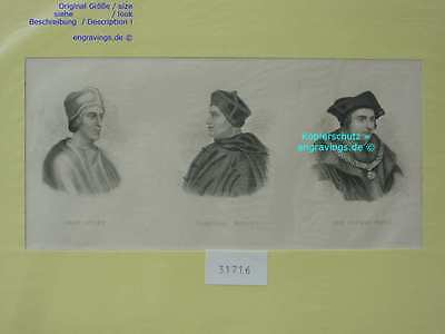31716-Porträts-Portraits-COLET-WOLSEY-SIR MORE-Stahlstich-Steel engraving-1850