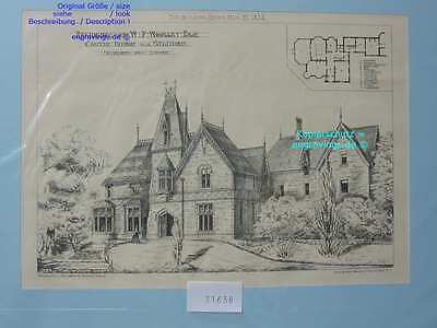 31638-Architektur-Architecture-CASTLE HOUSE-STAFFORD-Lithographie-Lithography