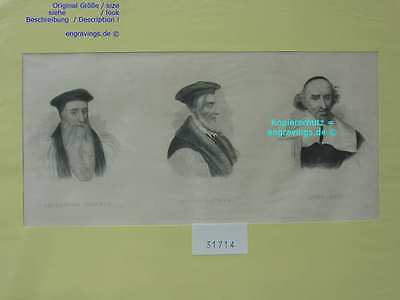 31714-Porträts-Portraits-CRANMER-LATIMER-KNOX-Stahlstich-Steel engraving-1850