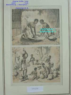 37434-Afrika-Africa-GRAIN-NATIVES-POMBE-Lithographie-Lithography-1885