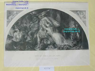 42279-ROUT OF COMUS AND BAND-28x14 cm-Stahlstich-Steel engraving-1860