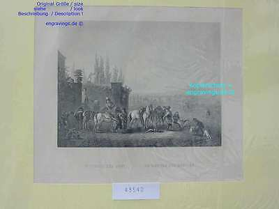 43542-AUFBRUCH ZUR JAGD-Hunting-Dogs-Hunde-Pferd-Stahlstich-Steel engraving