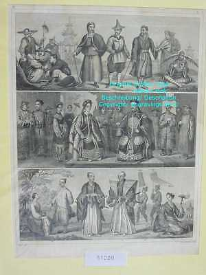 51200-Völker-Asia-China-Kaiser-Korea-Tibet-Japan-Stahlstich-Steel engraving-1856