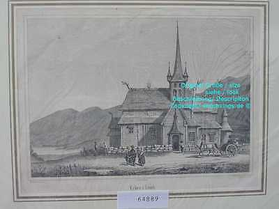 64889-Norwegen-Norway-Norge-Lomb Kirke-Stabkirche-Lithographie-Lithography