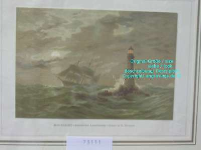 73111-Seefahrt-Schiffe-Ship-Marine-Eddystone Lighthouse-Lithographie-Lithography