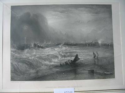 87048-Stranded Vessel off Yarmouth-nach Turner-Stahlstich-steel engraving