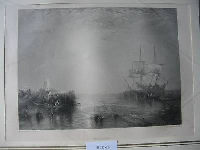 87046-Whalers-Walfang-nach Turner-Stahlstich-steel engraving