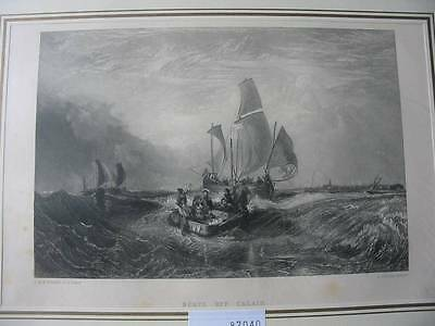 87040-Boats off Calais-Nach Turner-Stahlstich-steel engraving