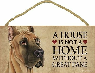 A House Is Not A Home GREAT DANE Dog 5x10 Wood SIGN Plaque USA Made