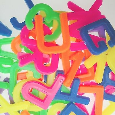 ASSORTED MIX 100 Alphabet and Number Plastic Lot Toy Vintage party learn kid fun
