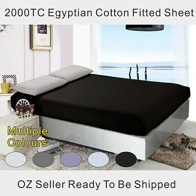 King/Queen Size 2000TC Extreme Soft Egyptian Cotton Fitted Sheet