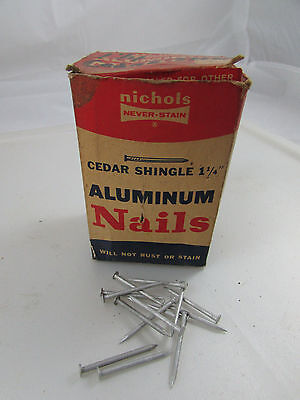VINTAGE Box of NICHOLS Never Stain Cedar Shingle Aluminum Nails 1 1/4""