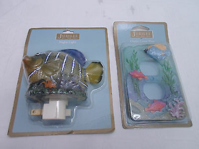 Jubilee Set Double Outlet Cover Plate  + Night Light - Ocean Aquatic Fish