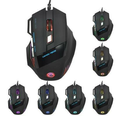LED Optical 5500 DPI 7 Button USB Wired Gaming Mouse Mice For Pro PC Lab