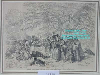 74329-Le Gage touche-Th.Schuler-Gartenfest-T Holzstich-Wood engraving