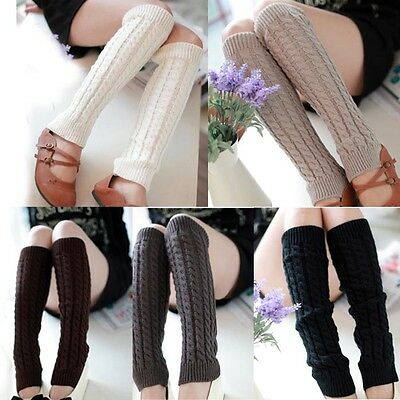 Women Ladies Winter Warm Leg Warmers Cable Knit Knitted Crochet Socks Legging UK