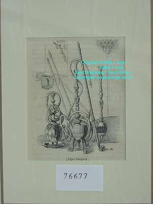 76677-Türkei-Turkey-Türkiye-Pipes-Wasserpfeifen-TH-Wood engraving