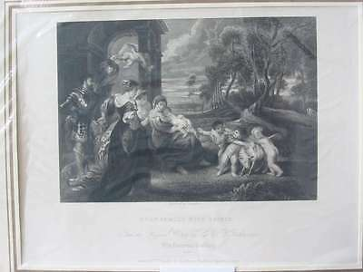 84423-Holy Family with Saints-Rubens-Stahlstich-steel engraving-1832